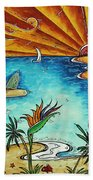 Original Coastal Surfing Whimsical Fun Painting Tropical Serenity By Madart Beach Towel