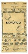 Original Patent For Monopoly Board Game Beach Towel