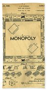 Original Patent For Monopoly Board Game Beach Towel