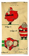 Original Patent For Santa On Skis Figure Beach Towel