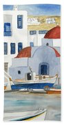 Watercolor - Mykonos Greece Detail Beach Towel