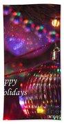 Ornaments-2054-happyholidays Beach Towel