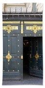 Ornate Door On Champs Elysees In Paris France Beach Towel
