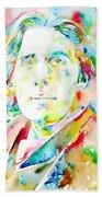 Oscar Wilde Watercolor Portrait.1 Beach Towel