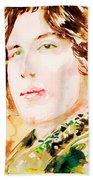 Oscar Wilde Watercolor Portrait.3 Beach Towel
