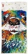 Otter Art - Ottertude - By Sharon Cummings Beach Sheet