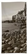 Otter Cliffs Black And White Beach Towel