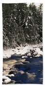 Ouareau River And Snow Covered Beach Towel
