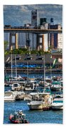 Out At The Harbor V3 Beach Towel