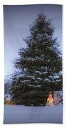 Outdoor Christmas Tree Beach Towel