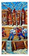 Outdoor Hockey Rink Winter Landscape Canadian Art Montreal Scenes Carole Spandau Beach Towel