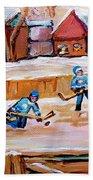 Outdoor Rink Hockey Game In The Village Hockey Art Canadian Landscape Scenes Carole Spandau Beach Towel