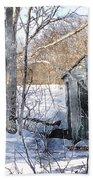Outhouse In Winter Beach Towel