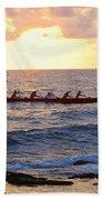 Outrigger Canoe At Sunset In Kailua Kona Beach Towel