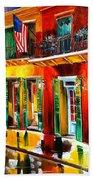 Outside Pat O'brien's Bar Beach Towel by Diane Millsap