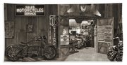 Outside The Old Motorcycle Shop - Spia Beach Towel