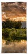 Owens River Sunset Beach Towel