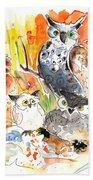 Owl Family In Velez Rubio Beach Towel