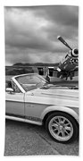 P51 Meets Eleanor In Black And White Beach Towel