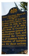 Pa-132 Tomas Garrigue Masaryk 1850-1937 Beach Towel