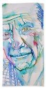 Pablo Picasso- Portrait Beach Towel by Fabrizio Cassetta