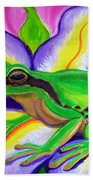 Pacific Tree Frog And Flower Beach Towel