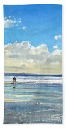 Paddling At The Edge Beach Towel