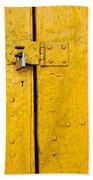 Padlock On An Old Yellow Door Beach Towel