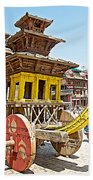 Pagoda-style Carriage In Bhaktapur Durbar Square In Bhaktapur-nepal Beach Towel