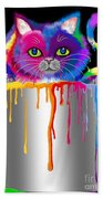 Paint Can Cat Beach Towel