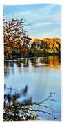 Painted Autumn River Beach Towel