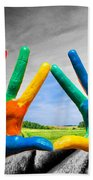 Painted Colorful Hands Showing Way To Colorful Happy Life Beach Towel