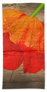 Painted Poppy On Wood Beach Towel