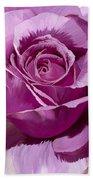 Painted Purple Rose  Beach Towel