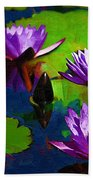 Painted Purple Water Lilies Beach Towel