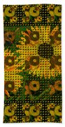 Painted Sunflower Abstract Beach Towel