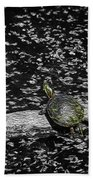 Painted Turtle In A Monochrome World Beach Towel