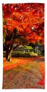 Painterly Autumn Path Beach Towel