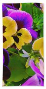 Painterly Purple Pansy Beach Towel