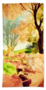 Painting Of Autumn Fall Landscape In Park Beach Towel