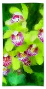 Painting Of Green Orchids Beach Towel