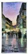 Old City Of Corfu During Dusk Time Beach Towel