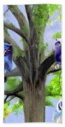 Painting Of Owls And Birds Nest In Tree Beach Towel