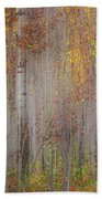 Painting Of Trees In A Forest In Autumn Beach Towel