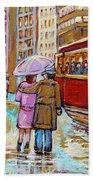 Paintings Of Fifties Montreal-downtown Streetcar-vintage Montreal Scene Beach Towel
