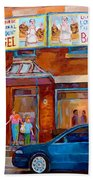 Paintings Of Montreal Fairmount Bagel Shop Beach Towel by Carole Spandau