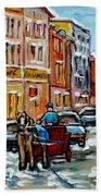 Paintings Of Old Port Quebec Vieux Montreal Memories Rue Notre Dame Snowscenes Art Carole Spandau Beach Towel