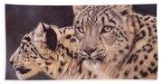 Pair Of Snow Leopards Beach Towel