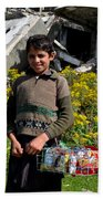 Pakistani Boy In Front Of Hotel Ruins In Swat Valley Beach Towel