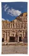 Palace Tomb In Nabataean Ancient Town Petra Beach Towel